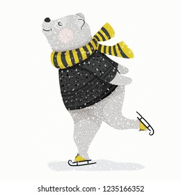 Cute bear skating in winter theme vector illustration for fashion artworks, children books, t-shirt prints, greeting cards.