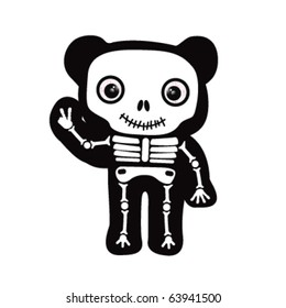 cute bear skeleton giving peace sign with his hands