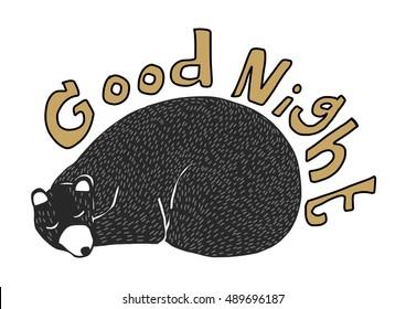 Cute bear sleeping. Good Night. vector illustration.