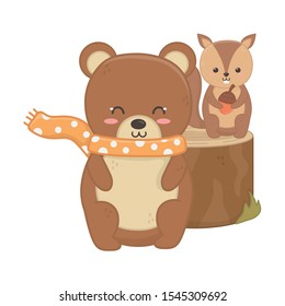 cute bear and squirrel with acorn animal forest hello autumn vector illustration