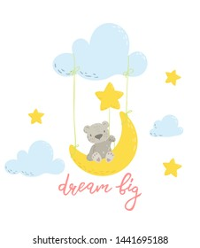 Cute bear is swinging on a moon swing and holding a star cartoon flat vector illustration for kids. Perfect for t-shirt print, nursery  textile, kids wear fashion design, baby shower invitation card.