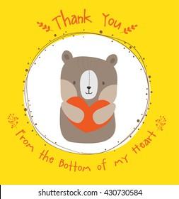 cute bear thank you card