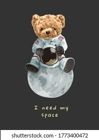 cute bear toy in astronaut costume sitting on the moon illustration