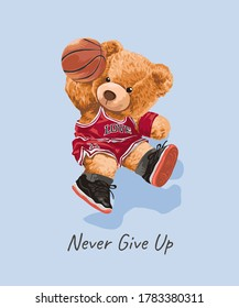 cute bear toy in basketball athletic style illustration