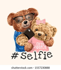 cute bear toy couple taking selfie illustration