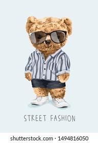 cute bear toy in fashion costume illustration