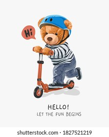 cute bear toy riding scooter illustration