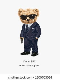 cute bear toy in spy costume illustration