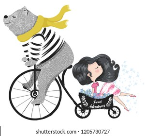 Cute bear travel with little pretty girl vector illustration for kids fashion artworks, patterns, children books, greeting cards, t shirt print.