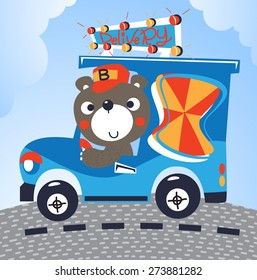 Cute bear with truck delivery vector.