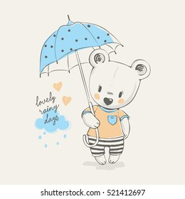 Cute bear with umbrella cartoon hand drawn vector illustration. Can be used for t-shirt print, kids wear fashion design, baby shower invitation card.