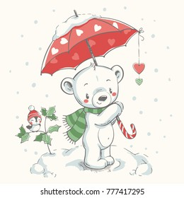 Cute bear with umbrella hand drawn vector illustration. Can be used for t-shirt print, kids wear fashion design, baby shower invitation card.