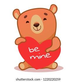 Cute bear vector logo icon. Kid bear illustration character doodle cartoon. Be my valentine. In love.