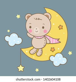 Cute bear vector on moon, magic sleeping time for sweet dream, Kawaii style with star. Perfect for kid's greeting card design, t-shirt print, inspiration poster. Romantic hand drawing or decoration