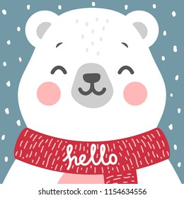 Cute Bear vector print, baby shower card. teddy with hello write cartoon illustration,  greeting card, kids cards for birthday poster or banner, cartoon invitation