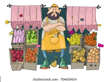 A cute bearded vendor stands in front of a vegetables and fruits store. Street stall full of fresh vegetables and fruits.
