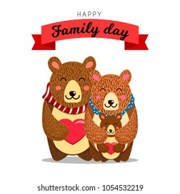 Cute bears family. Daddy Bear hugs Mommy bear and their Baby Bear. Good for Family day, Fathers Day, Mothers Day or Birthday greetings. Vector illustration.