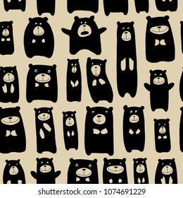 Cute bears family, seamless pattern for your design