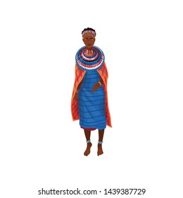 Cute beautiful african aborigine woman in textile colorful clothes
