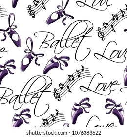 Cute and beautiful ballet seamless pattern vector