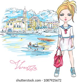 Cute beautiful fashion girl in summer dress in Vernazza, Five lands, Cinque Terre National Park, Liguria, Italy.