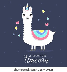 Cute and beautiful Llama with Unicorn horn.