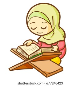 Cute and beautiful muslim female reading Qur'an - vector.