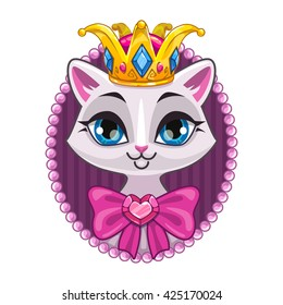 Cute beautiful princess kitty portrait, vector template for teenagers t shirt design with beautiful white cat girl, sweet girlish illustration, isolated on white background