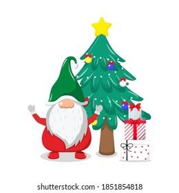 Cute beautiful Santa Claus celebrating merry charismas with chiasmas tree and gift boxes and waving