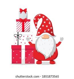Cute beautiful Santa Claus celebrating merry charismas with chiasmas gift boxes