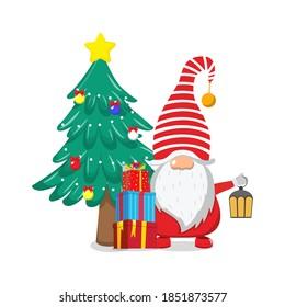 Cute beautiful Santa Claus celebrating merry charismas with chiasmas gift boxes and chiasmas tree and lamp
