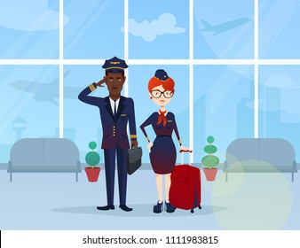 Cute, beautiful, stylish, young pilot and flight attendant with a red suitcase at the airport, airplanes, departure, flight, airport.  Modern vector flat design image illustration
