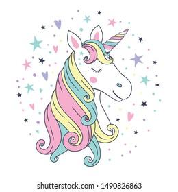 Cute beautiful unicorn head. Vector illustration.