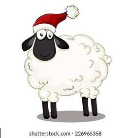 cute beautiful vector santa sheep isolated on white