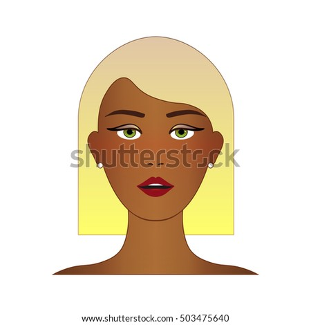 Cute Beautiful Young Girl Face Blonde Stock Vector Royalty Free
