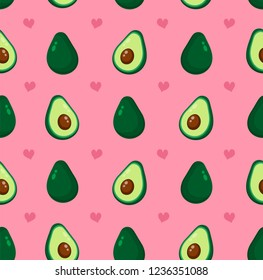 Cute beauty avocado and hearts seamless pattern. Vector flat cartoon illustration icon design, Isolated on pink background. Avocado pattern concept