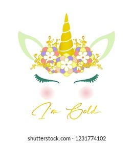 Cute beauty unicorn illustration. Gold glitter. Design for card background, shirt