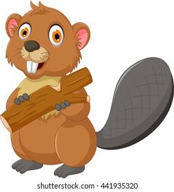 cute beaver cartoon eating wood