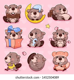 Cute beaver kawaii cartoon vector character set. Adorable, happy and funny animal mascot isolated stickers, patches pack, kids illustration. Anime baby girl beaver emoji, emoticon on pink background