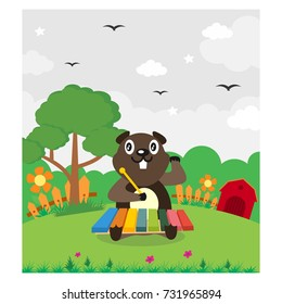 cute beaver playing music instrumental in the back yard cartoon character