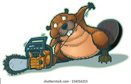 "A cute beaver starting a chainsaw. He looks a little guilty to be ""cheating"" in this way. This cartoon illustration is vector clip art."