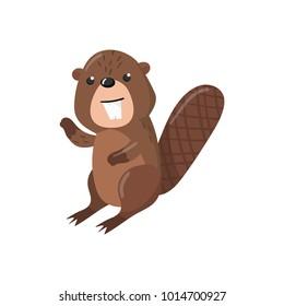 Cute beaver woodland cartoon animal vector Illustration
