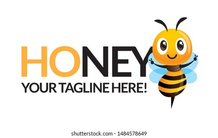 Cute bee with business brand name, vector mascot isolated