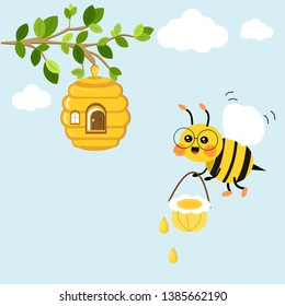 Cute bee cartoon character with bee hive in a tree branch isolated on a blue background vector illustration. cartoon bee house with a door and window