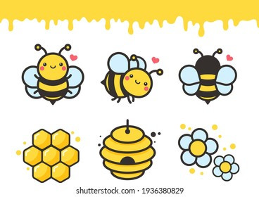 Cute bee cartoon character vector Hexagon honeycomb and flower isolated on white background.
