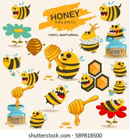 bf7d1fade Cute bee cartoon character vector set. Illustration with the honey,  beehive, stick,
