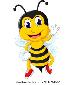 cute Bee cartoon flying of illustration