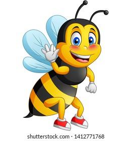 Cute bee cartoon flying. vector illustration