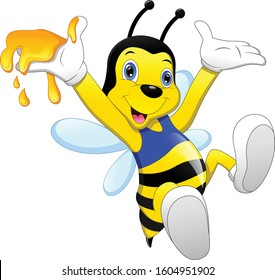 cute bee cartoon with honey