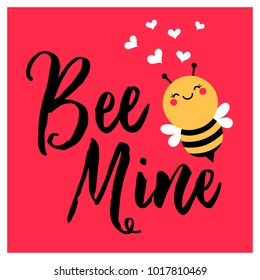"Cute bee cartoon illustration and text ""Bee Mine"" for valentine's day card design"